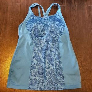 Lululemon blue floral print top
